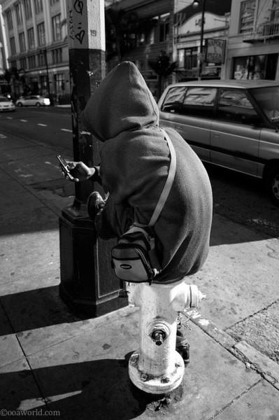 Sitting on a fire hydrant, San Francisco