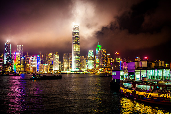 Hong-Kong's skyline at night, as seen from the ferry to Macau.