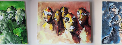triptik green red blue faces art ooaworld ooaddle