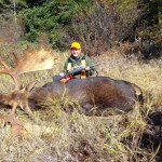 "Curtis Reid's 56 1/2"" bull. This bull, along with a two-year-old cow and another 48 1/2"" bull shot by Luke Burkette just north of Terrace Bay, ON, made for an exciting first week of rifle season for the whole hunting party, from Madoc and Bancroft."