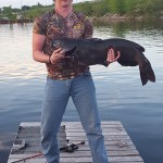 After a 30 minute fight, Kody Schell of MacTier reeled in a 40-pound channel catfish off Georgian Bay.