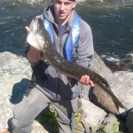 Kyle, 16, caught this 28-inch Northern pike using a spinner lure while fishing on the French River.
