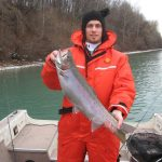 Matt Spada caught this trout on the Lower Niagara River out of Queenston. Both fish were caught using a three-way rig with a blue and silver kwickfish.