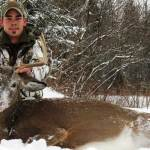 Adam Lariviere shot this mature buck on Dec. 9, 2013 in a blizzard. The deer came within 7 yards of Adam and after a well-placed shot with his bow, this buck dropped just 30 yards away.