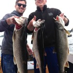 Clayton Dool and his son, Michael, both reeled in the largest lake trout they had ever caught the same day this month. The fish are 10, 11 and 12 lbs and were caught west of Sudbury on Lake Lauzon. They were fishing with uncle Randy.
