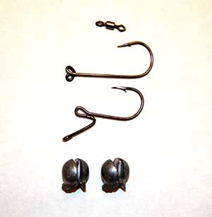 winter walleye - Seen here are the SMART DS 90 dropshot hook (top) and the Stand-Out dropshot hook. Both are author favourites