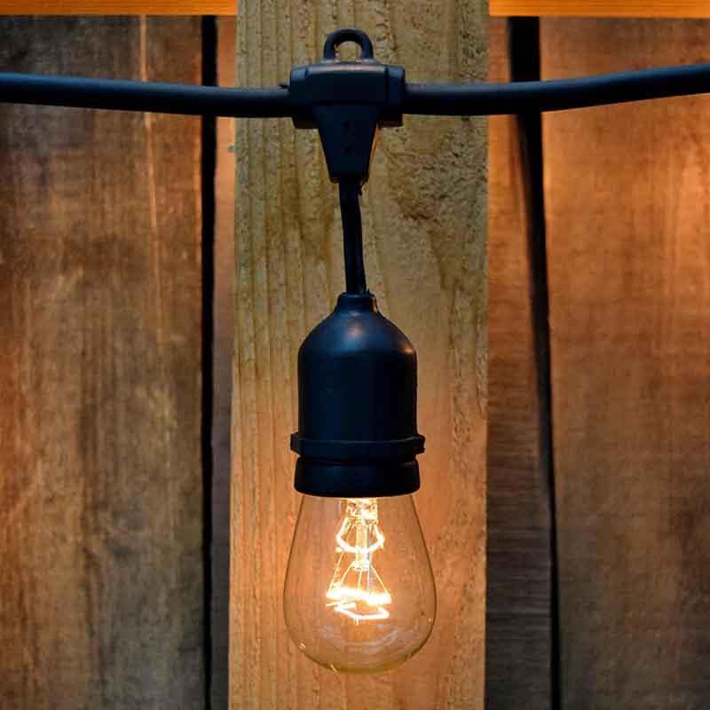 100 commercial light strand kit s14 clear glass bulbs black suspended