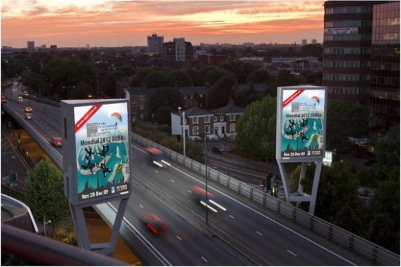 Out Of Home International - World Parachuting Championships - Twin Towers Digital Billboard