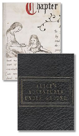 cubierta del manuscrito original de Lewis Carrol, Alice in wonderland