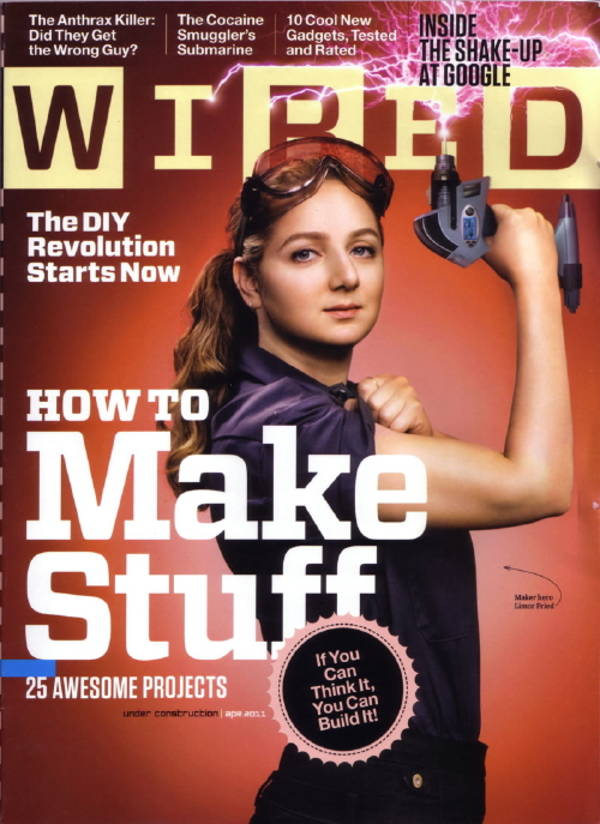 Cover of Wired Magazine featuring Limor Fried aka Lady Ada founder of Adafruit Industries.