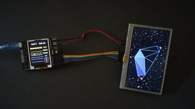 SPIDriver driving a Gameduino 3 LCD panel.