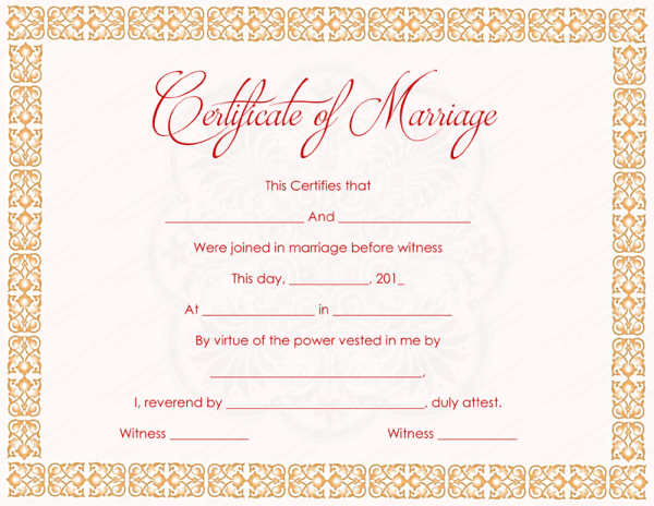 Sample marriage certificate wording