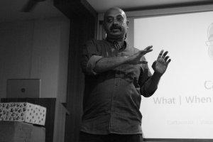 K.N Balraj at the cartooning workshop