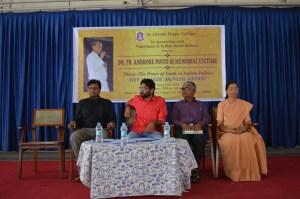 (From L to R) Fr. Vinoo Fabian Sudhakar, Jignesh Mevani, Mangaluru Vijay and Sister Philomina. Picture Credits: Ancel Blaise