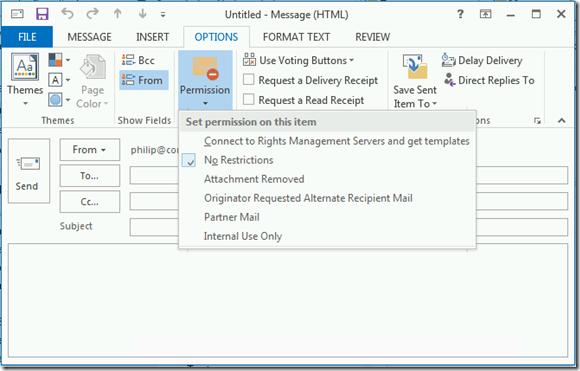 Exemple de message protégé sur Outllook grâce à Azure Rights Management ARM pour Office 365