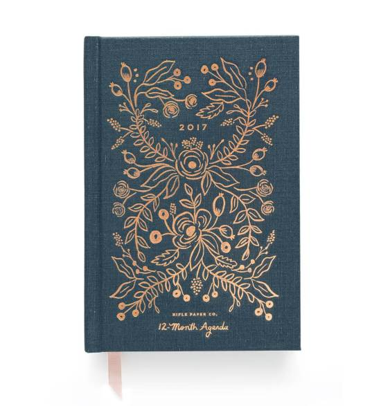 5 Best Agendas and Planners for Creative Entrepreneurs rifle-paper-co-2017-midnight-agenda-metallic-copper-navy