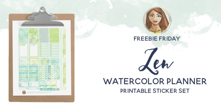 Freebie Friday - Zen Watercolor Printable Planner Sticker Set
