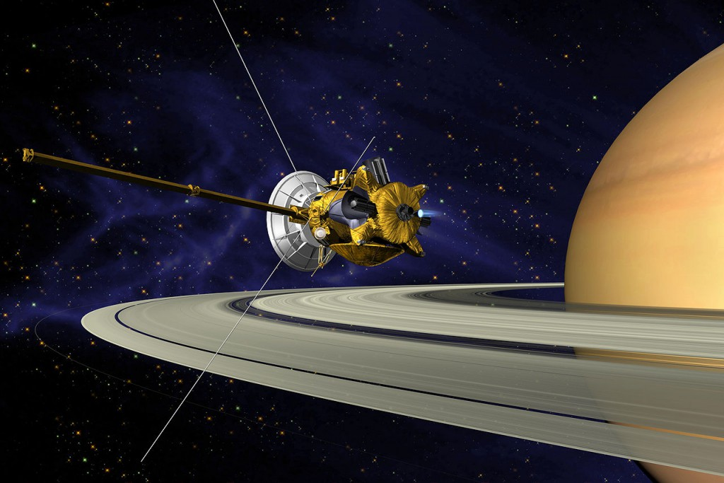 Artist's impression of Cassini in orbit around Saturn. (Credit: NASA)