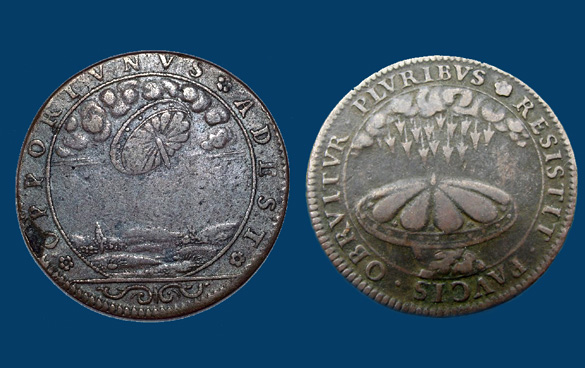 Coins from France called Jetons. These depict the shield images that are often believed to be UFOs.