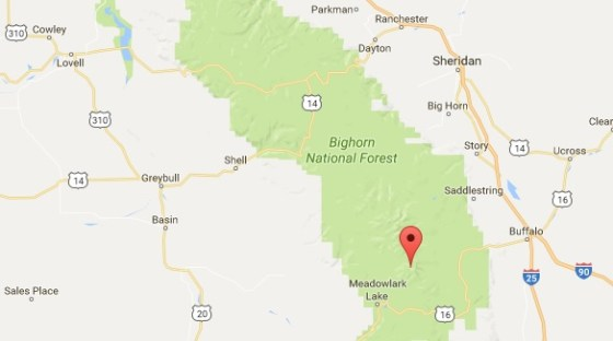 the marker shows the location of Lost Twin Lakes in Bighorn National Forest. (Credit: Google Maps)