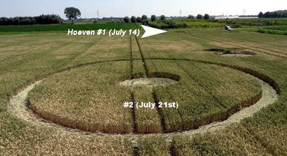 Nueva formación de 21 de julio sobre la Palingstraat cerca de Hoeven.  La flecha muestra la ubicación de los círculos de 14 de julio.  Foto: Roy Boschman