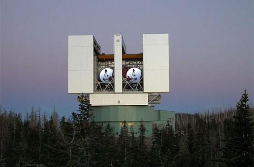 The Large Binocular Telescope observatory on Mt. Graham. (Credit: NASA)