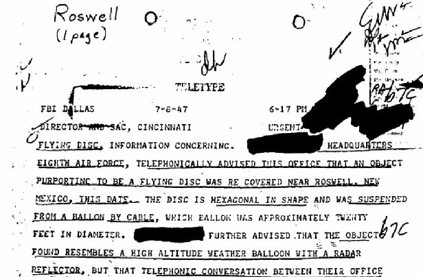 Roswell FBI File (click to view full document)