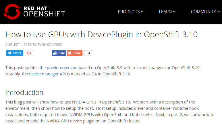 How to use GPUs with DevicePlugin in OpenShift 3.10