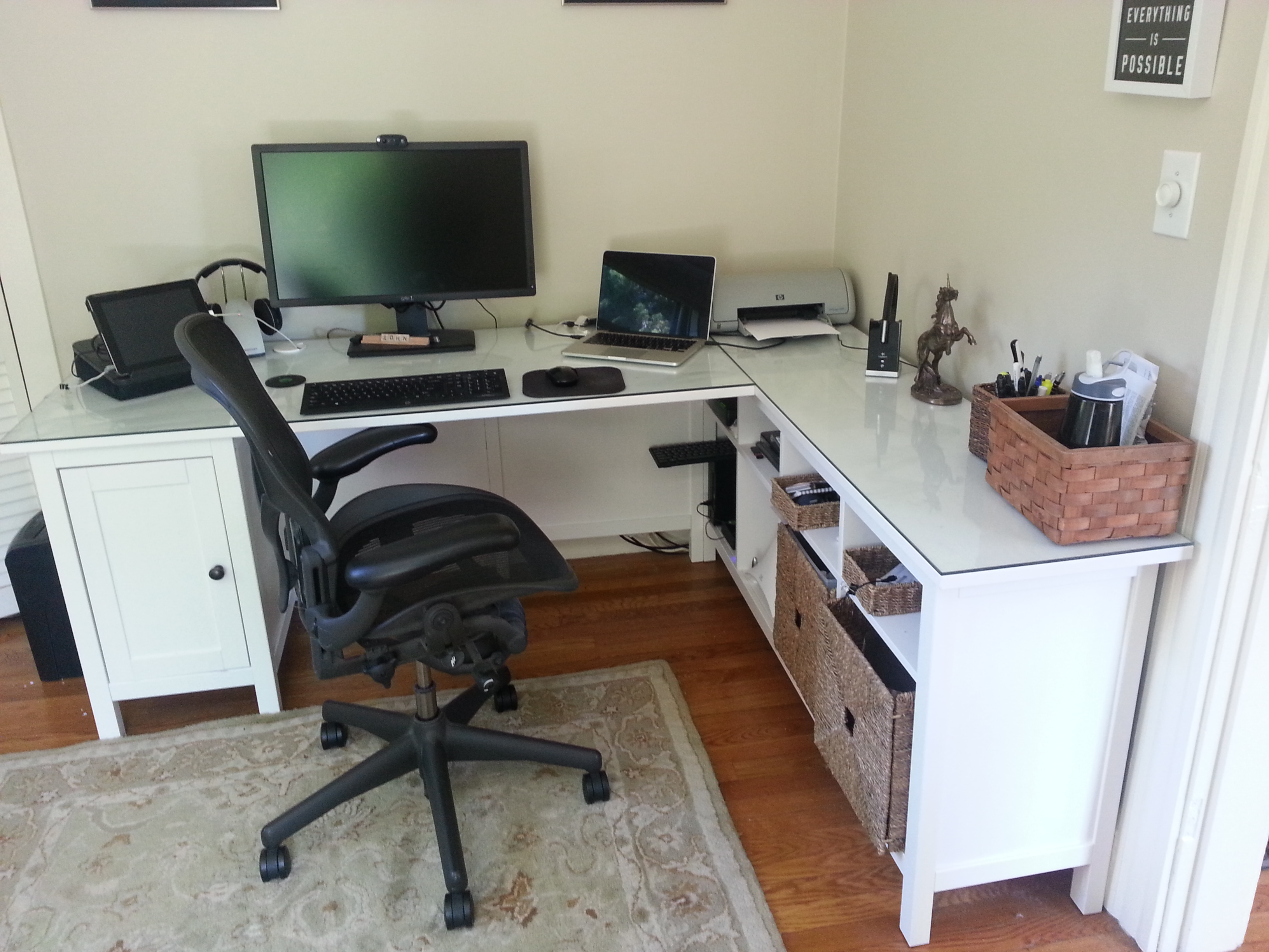Home Office Ikea Hack   Open Parenthesis Hemnes desk minus one pedestal  plus Hemnes sofa table  plus glass top