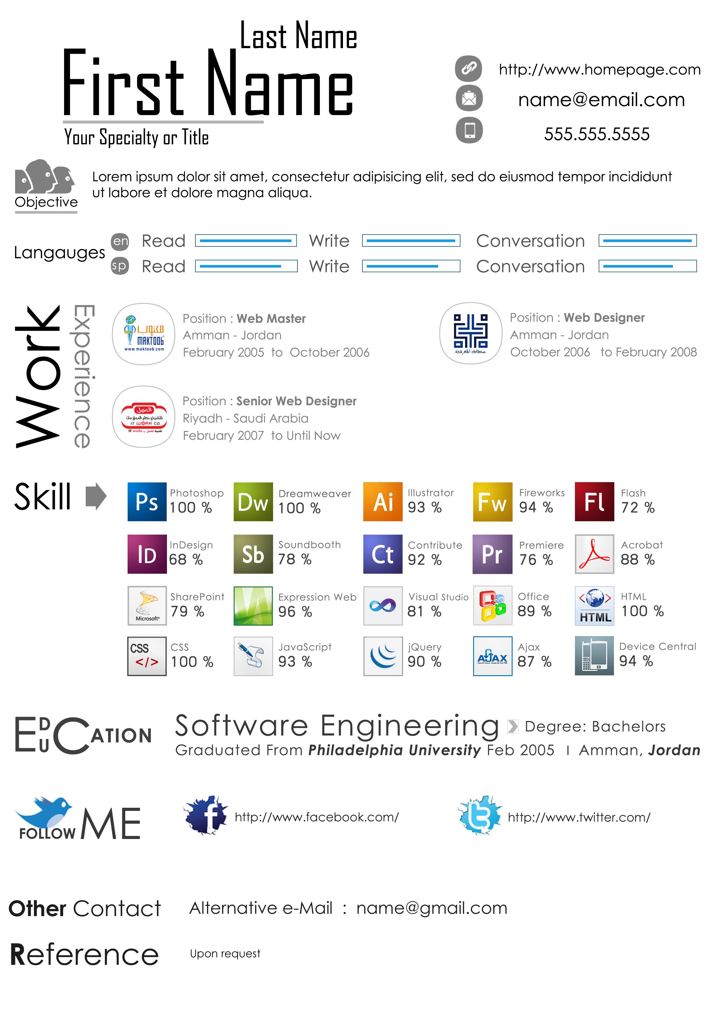 web designer resume psd template â open resume templates