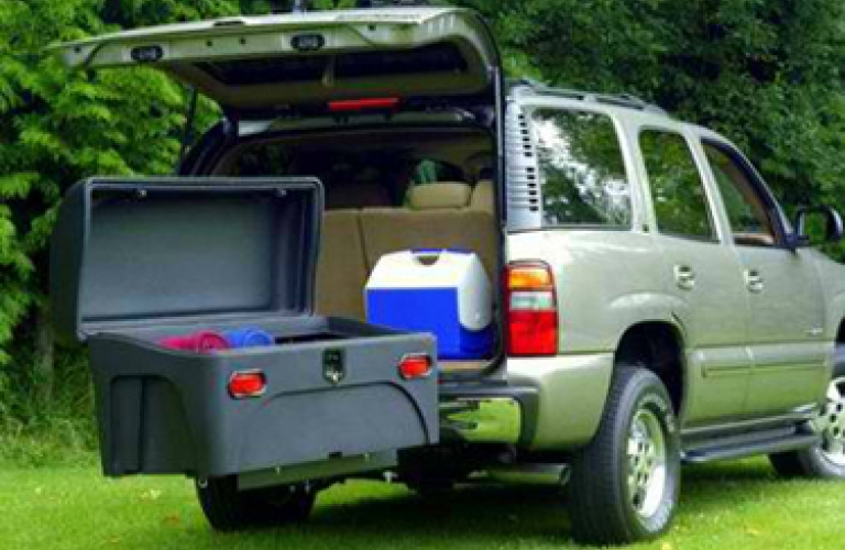 rent hitch mounted cargo box open