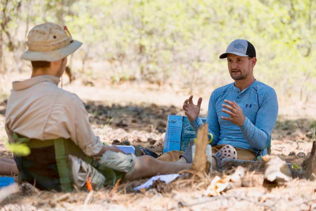 Senior clinical therapist Chris Blankeship works one on one with an Open Sky Wilderness Therapy student.