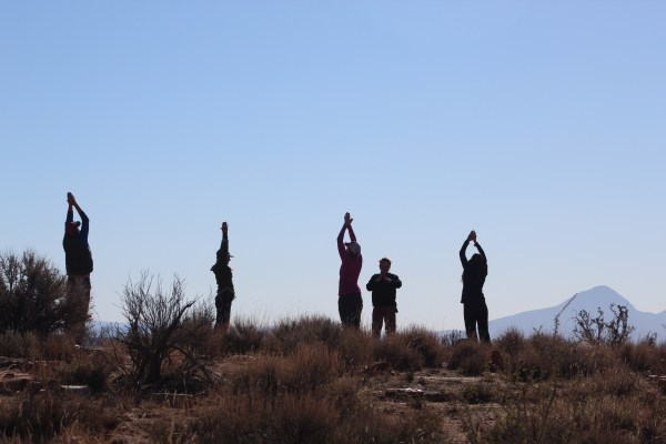Family participates in yoga during Family Quest