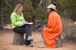 A student at Open Sky Wilderness Therapy engaging in a one-on-one conversation with a therapist.