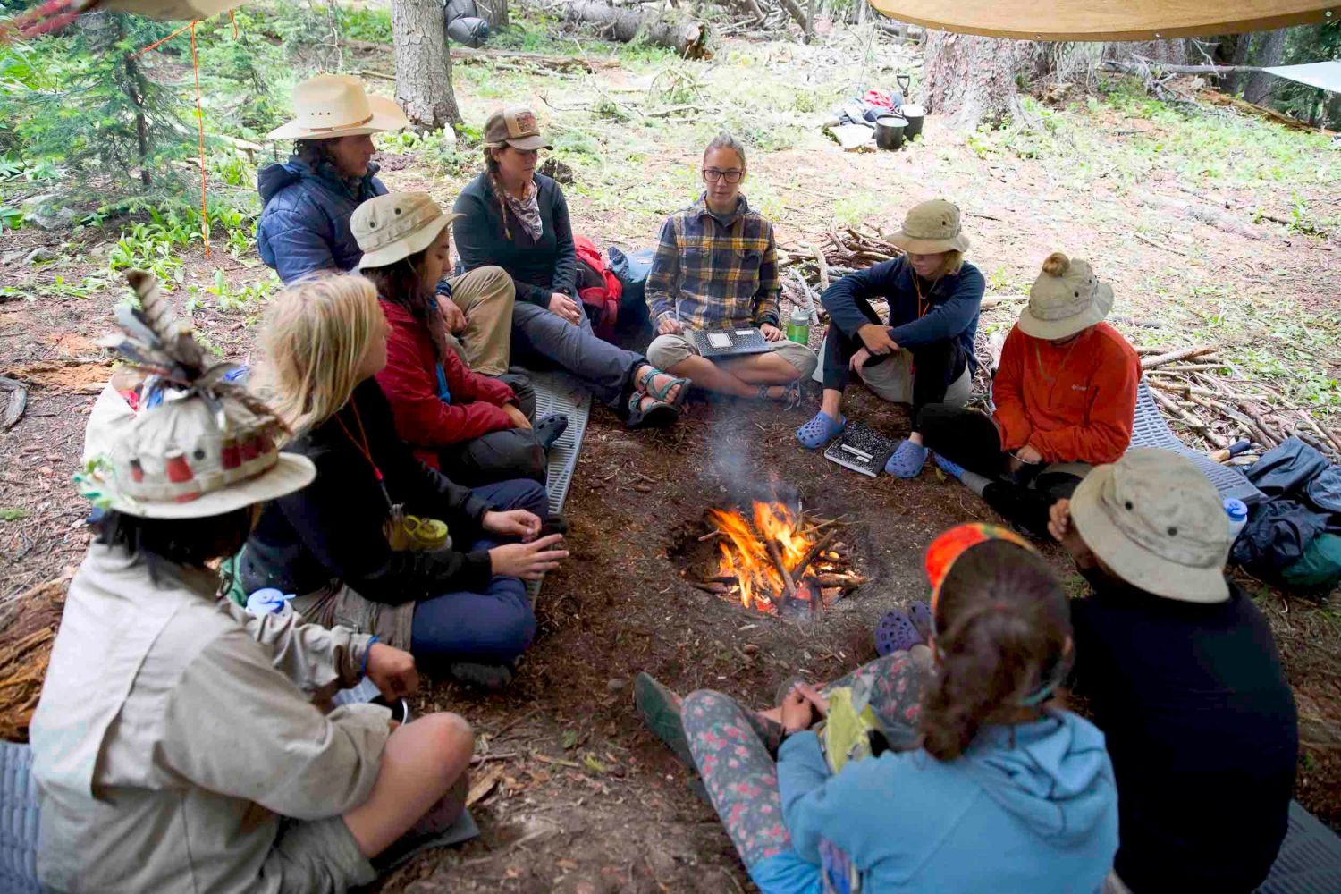 Therapist Sierra Williams and Adolescent Girls group therapy session at Open Sky Wilderness.