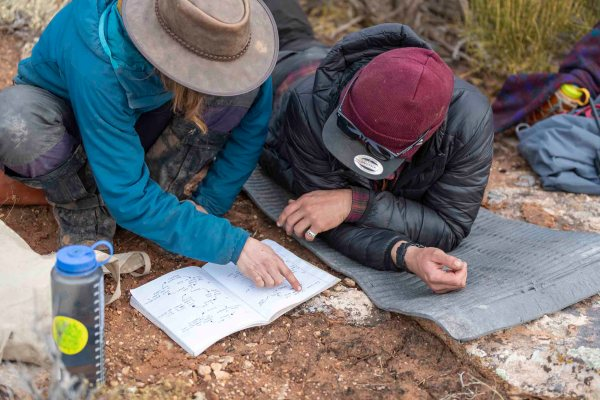 Open Sky field guides work on guide pathway.