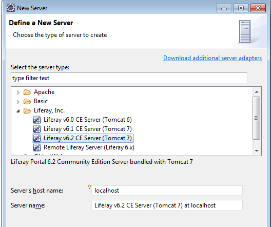 Install Liferay eclipse plugin- Add new Liferay Server