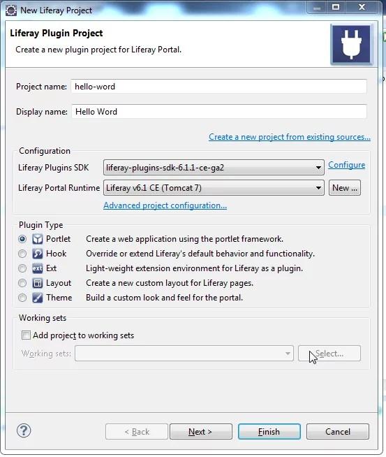 Create Liferay portlet - Choose Portlet Plugin Project