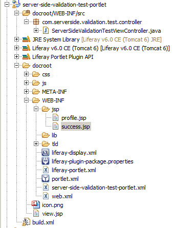 Server Side Validation in Liferay - Project Structure