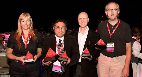 Sandipan Chattopadhyay, CTO, Just Dial (second from left), with other winners at the Red Hat Awards