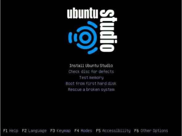 The installation boot menu