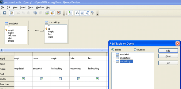 Query window with two tables selected and relationship established