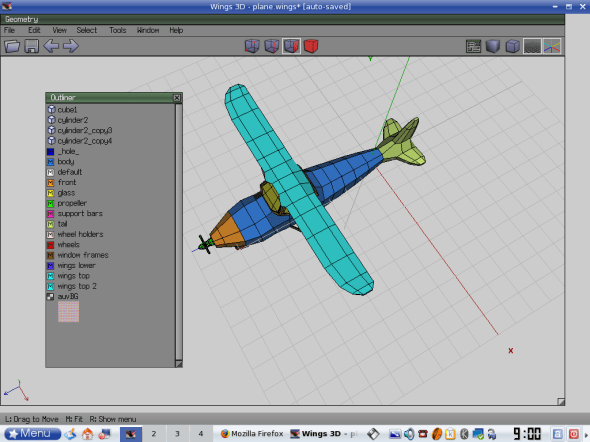 Outliner with materials created