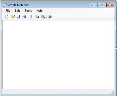 Design view of the Notepad Application