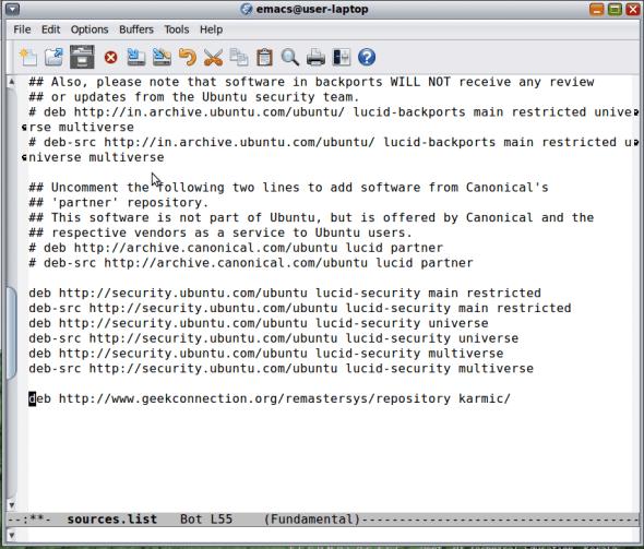 Editing /etc/apt/sources.list