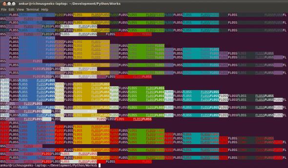 Colourful patterns through ANSI escape sequences
