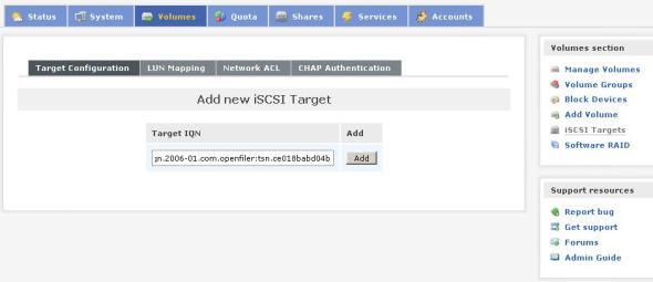Add new iSCSI target