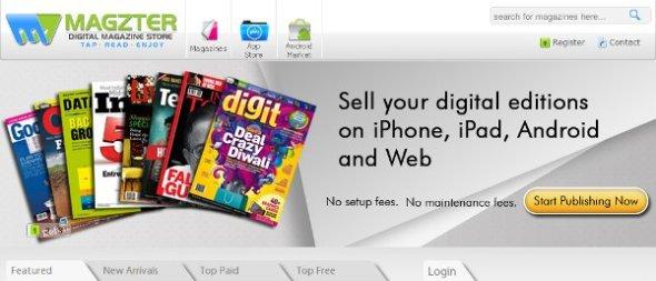 A screengrab of Magzter website