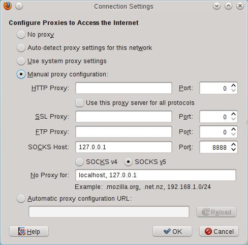 Configuring Firefox to use Socks5 Proxy