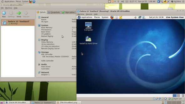 VirtualBox running Fedora as guest OS